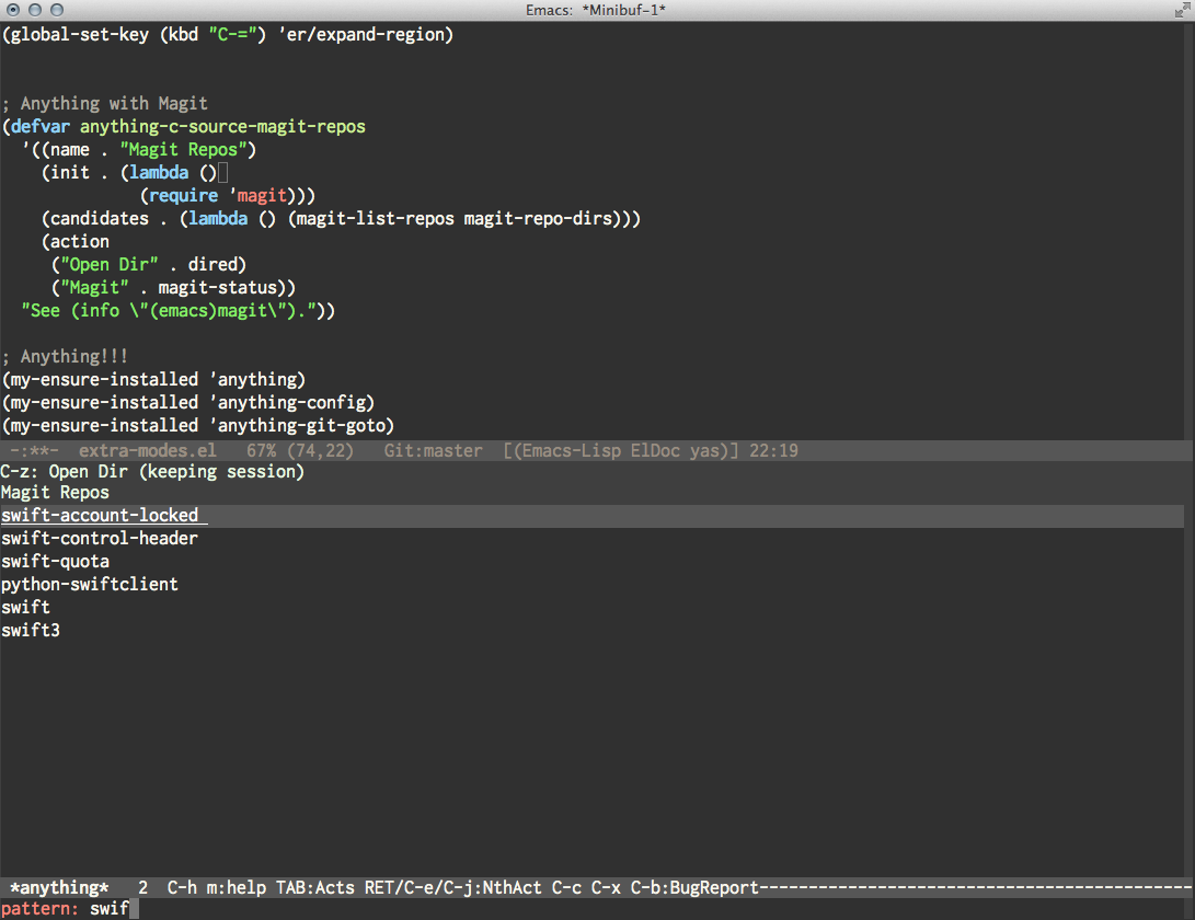Crouch Jump Macro That Works After Binding: Emacs Anything With Magit